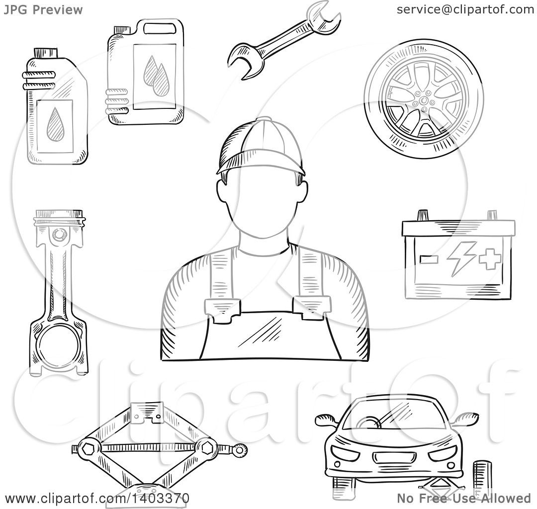 Design of car jack - Clipart Of A Sketched Mechanic Car On Jack Wheel Spanner Piston Battery And Motor Oil Royalty Free Vector Illustration By Vector Tradition Sm