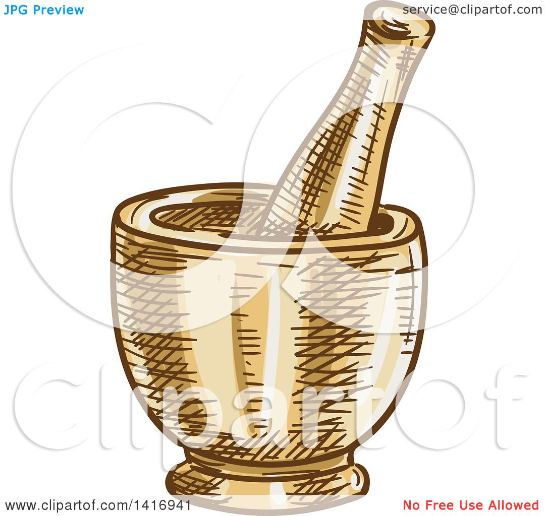 Clipart Of A Sketched Mortar And Pestle Royalty Free