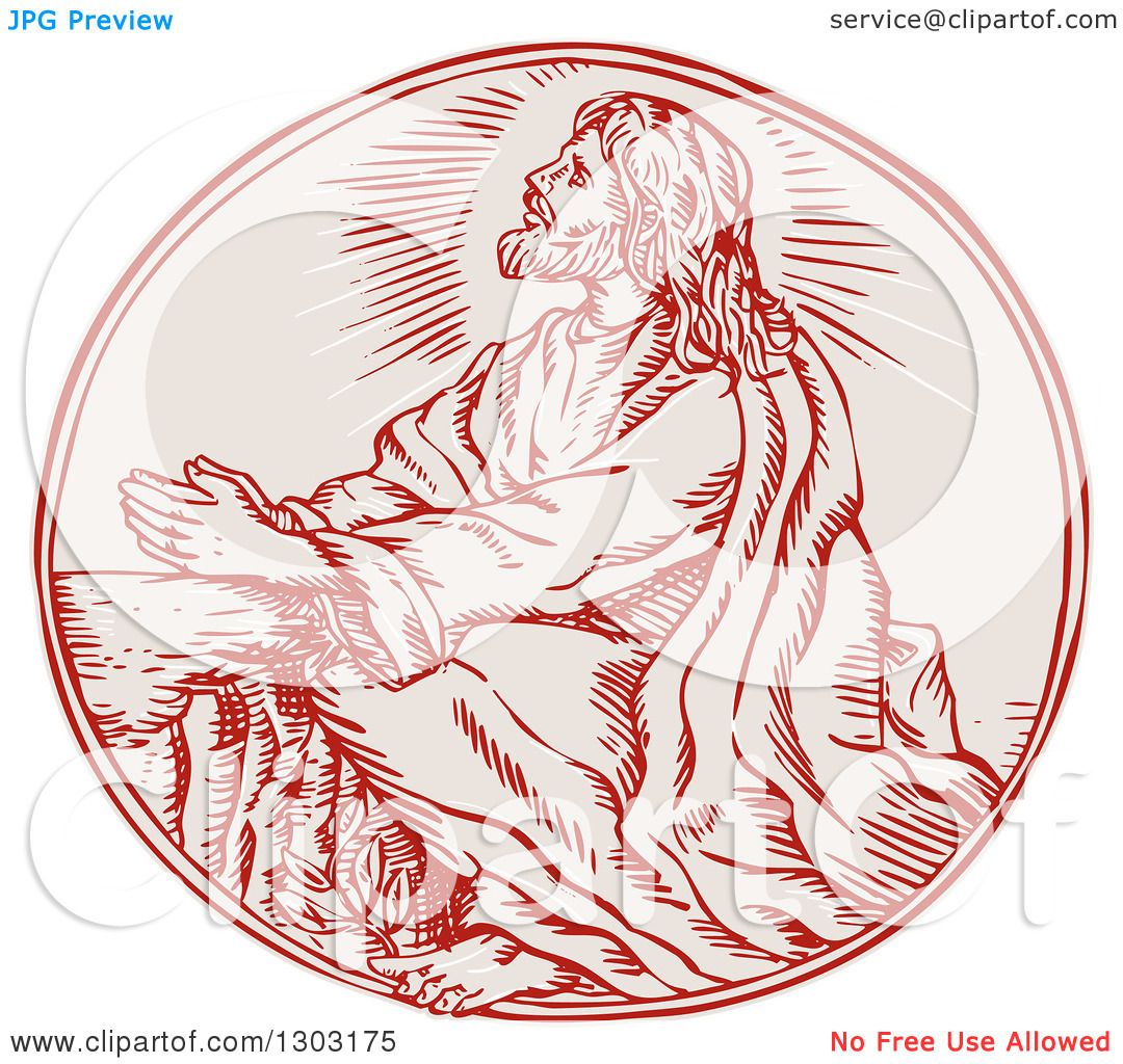 Clipart of a Sketched or Engraved Scene of Jesus Agony in the Garden ...