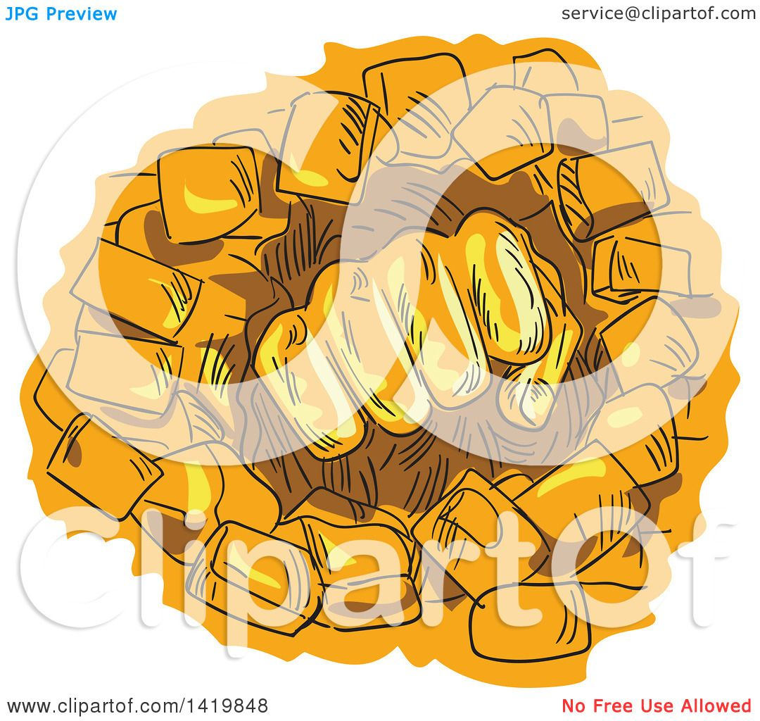 Clipart of a Sketched Orange Fist Breaking Through a Stone Wall ...