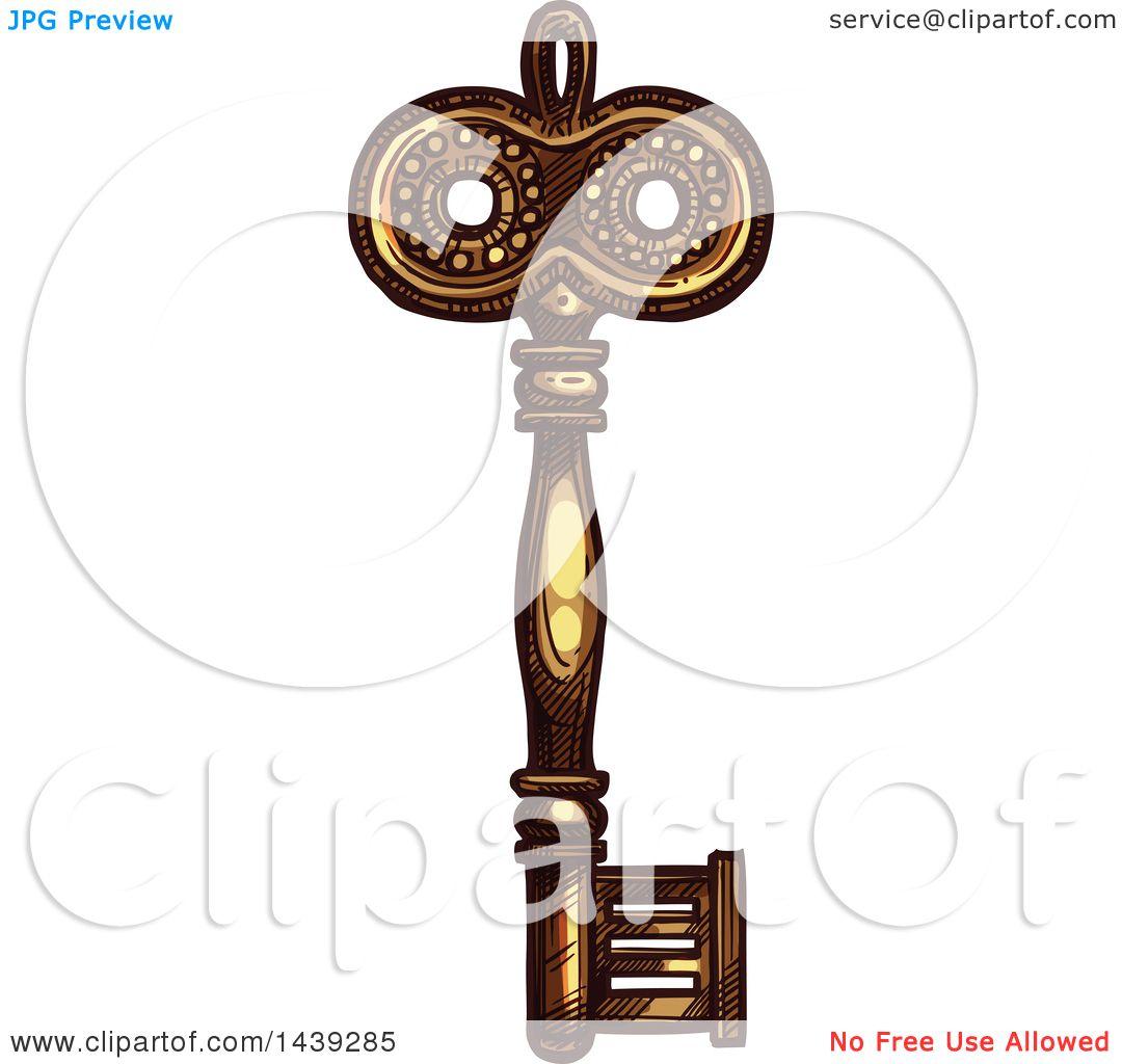 Vector Key Illustration: Clipart Of A Sketched Ornate Skeleton Key