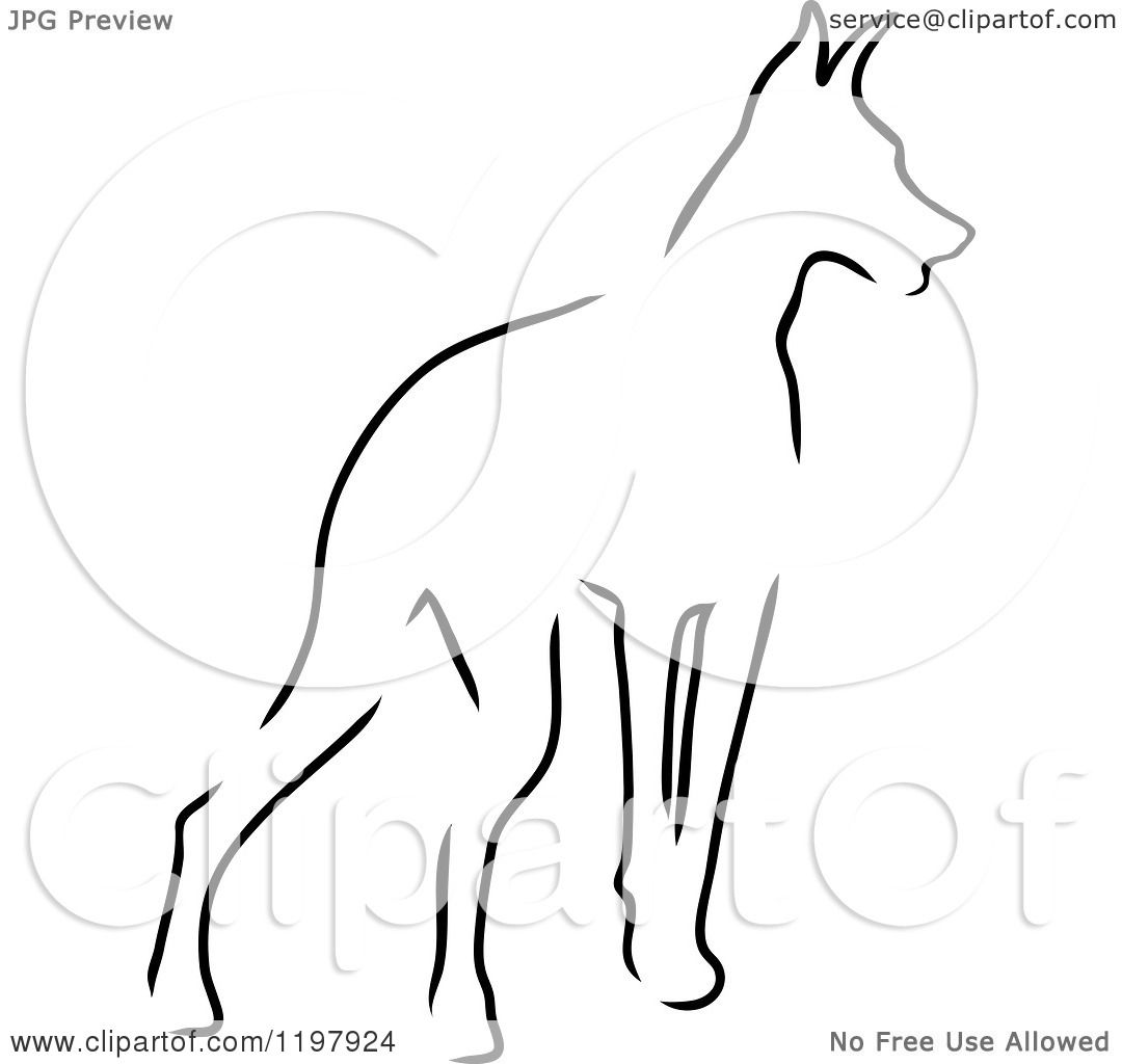 clipart of a sketched outline of a doberman pinscher dog royalty