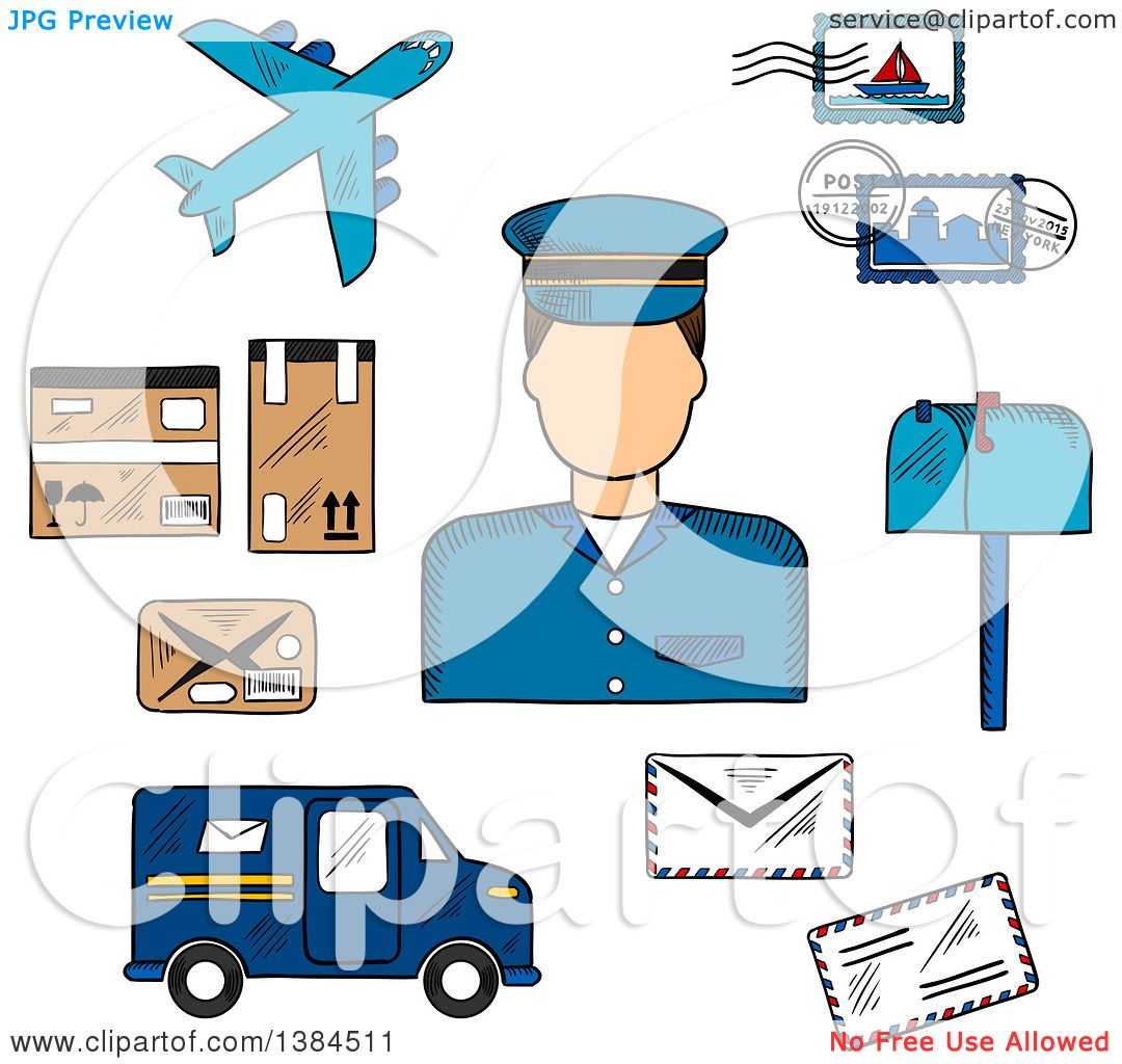 Clipart of a Sketched Postman with Postage Stamps and Letterbox ...