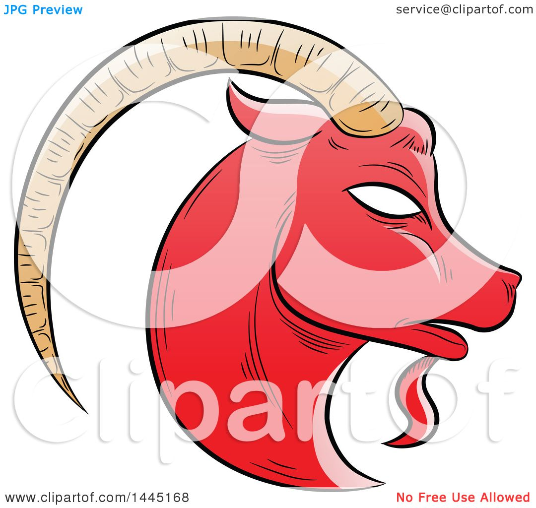 Clipart Of A Sketched Red Astrology Zodiac Capricorn Goat Head In Profile