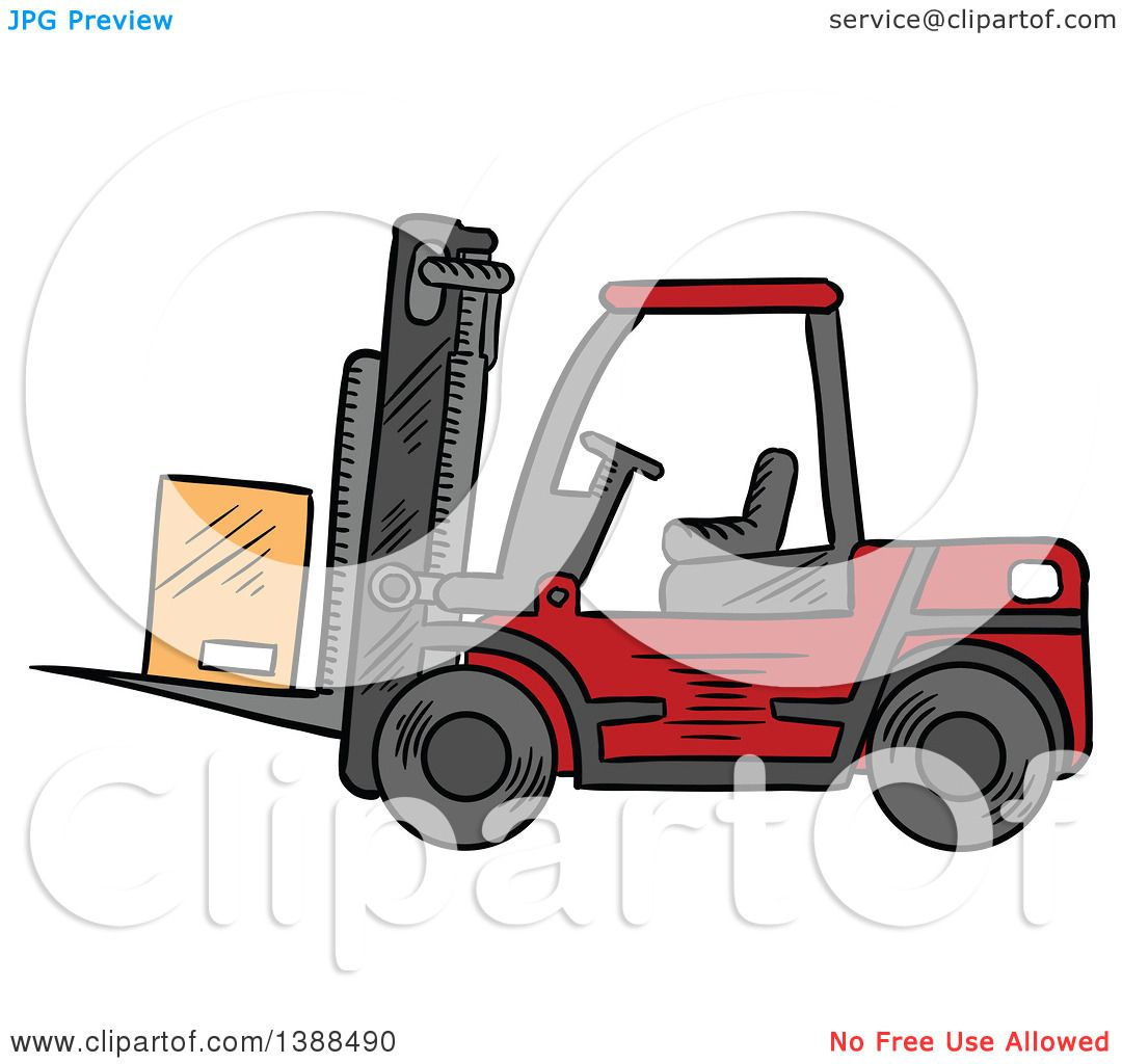Clipart of a Sketched Red Forklift with a Box - Royalty ...