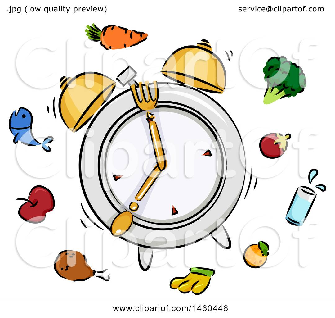 Clipart of a Sketched Ringing Alarm Clock Plate with Silverware ... for Plate With Food Clipart  146hul