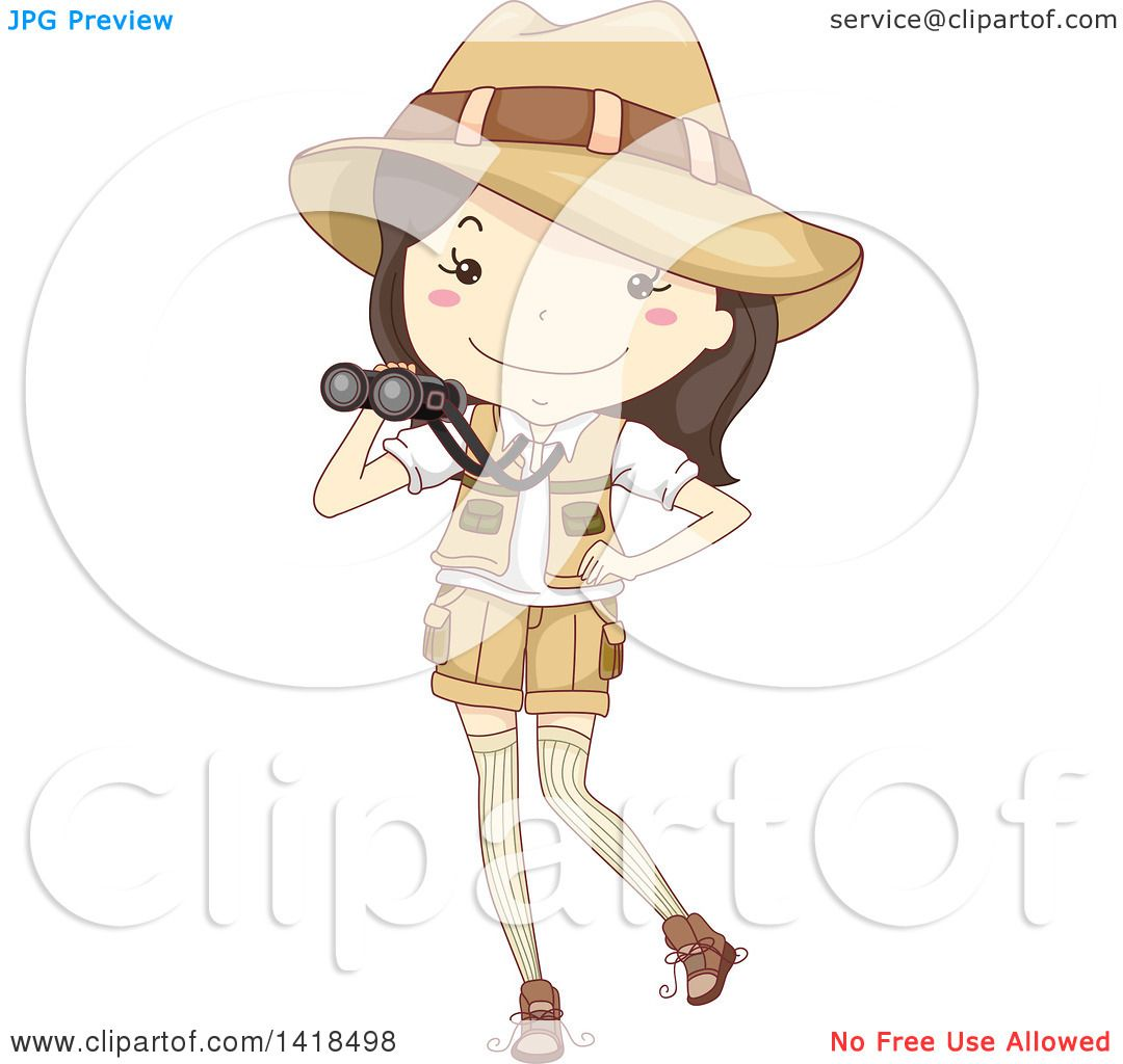 Clipart Of A Sketched Safari Girl Holding Binoculars