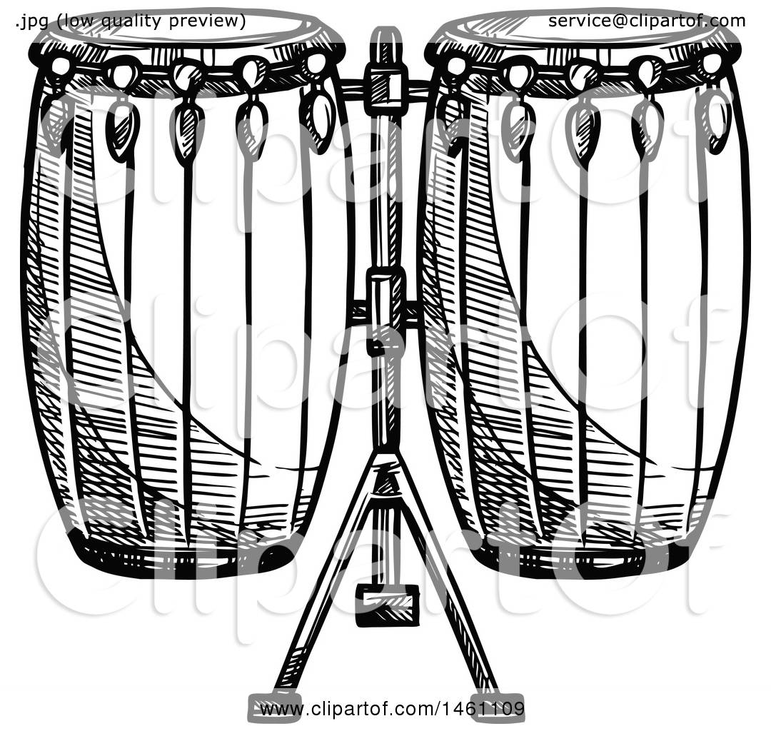 Clipart Of A Sketched Set Conga Drums