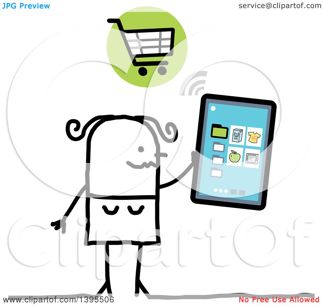Clipart of a Sketched Stick Woman Online Shopping with a ...