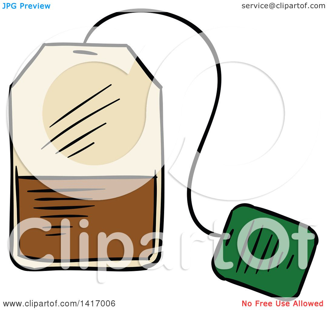 Clipart of a Sketched Tea Bag - Royalty Free Vector Illustration ...