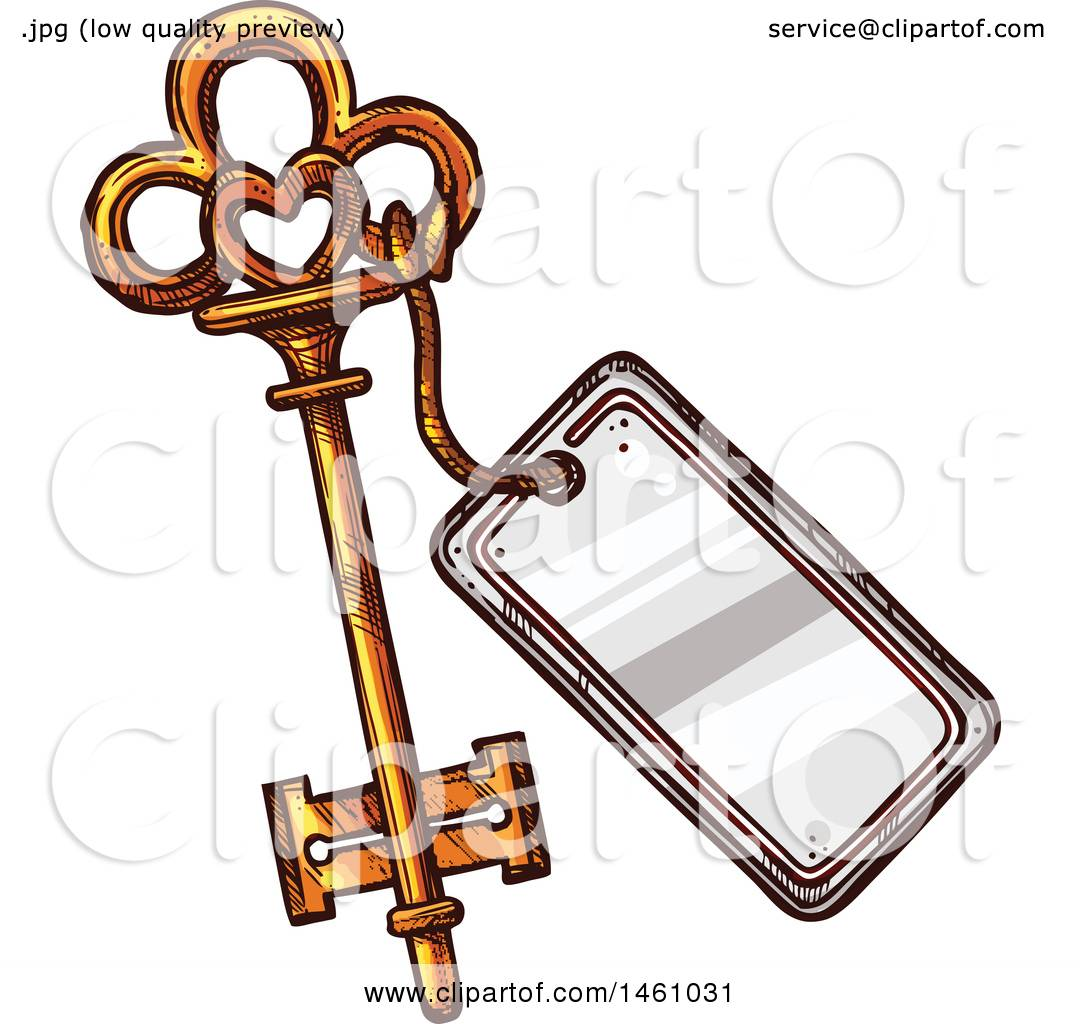 Vector Key Illustration: Clipart Of A Sketched Vintage Skeleton Key With A Tag
