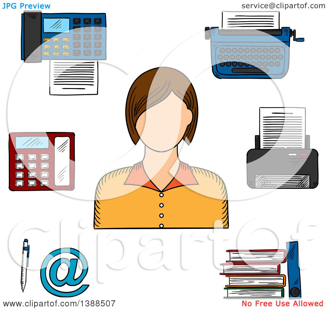 Clipart of a sketched white female secretary printer telephone clipart of a sketched white female secretary printer telephone fax typewriter file folders pen and email sign royalty free vector illustration by sciox Gallery