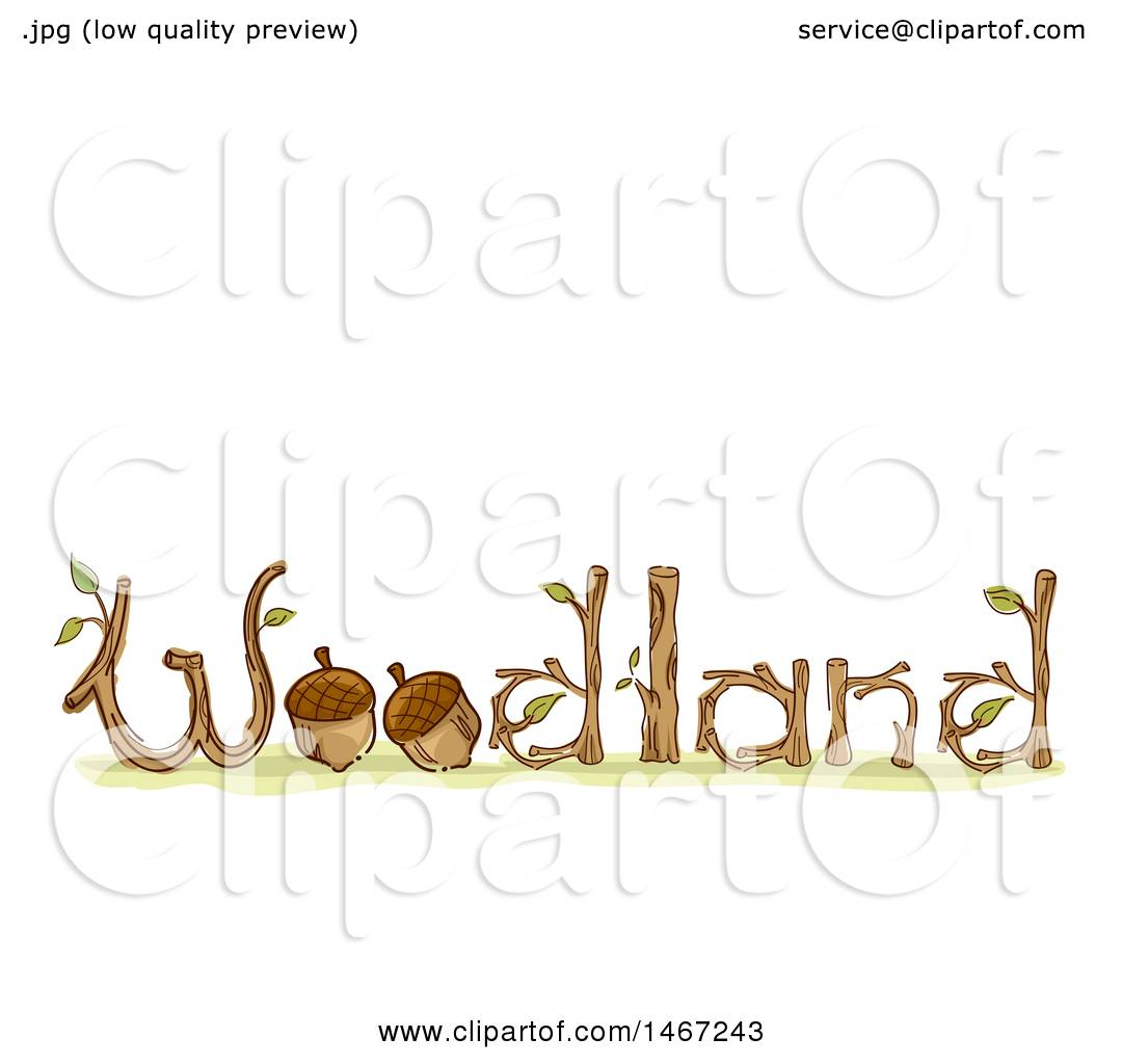 Clipart Of A Sketched Woodland Word Design With Acorns