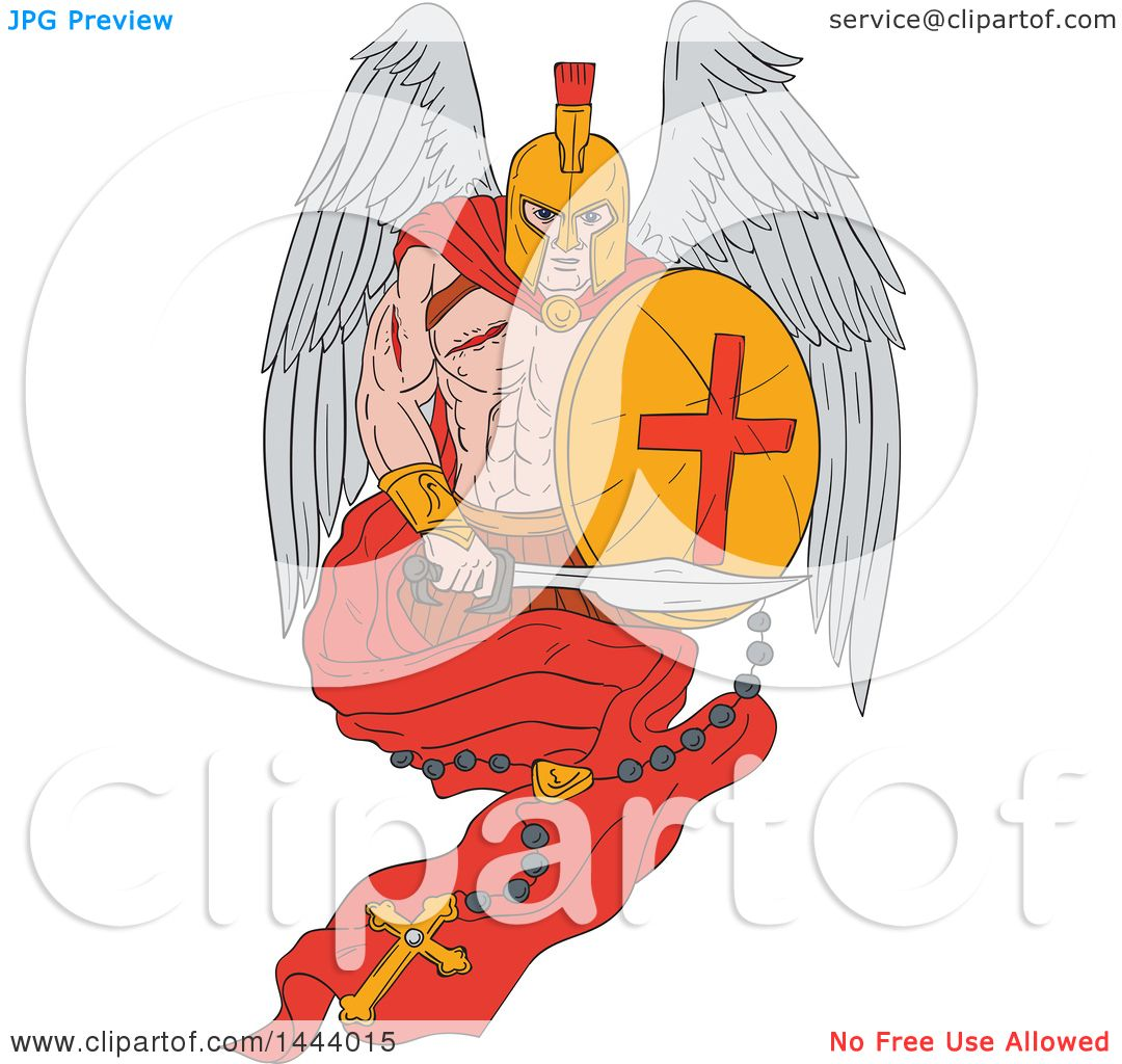 ad8dc27208a39 Clipart of a Sketched Wounded Spartan Warrior Angel Holding a Sword and  Shield with a Rosary
