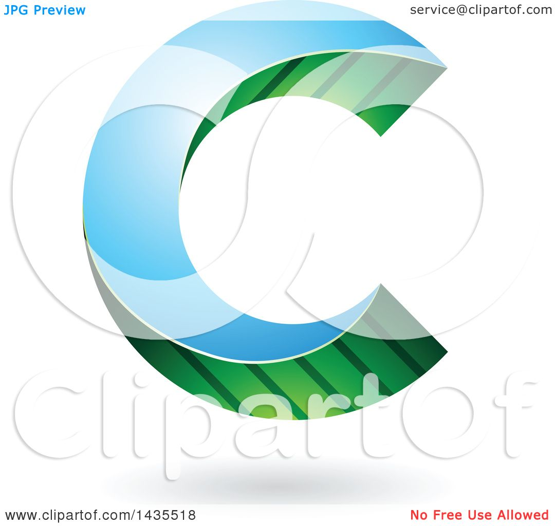 Clipart Of A Skewed Letter C Design With A Shadow