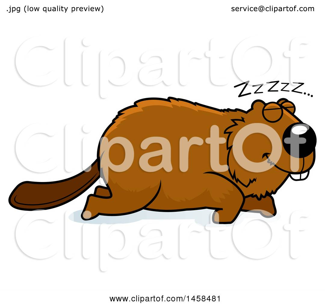 Clipart of a Sleeping Beaver - Royalty Free Vector Illustration by ...