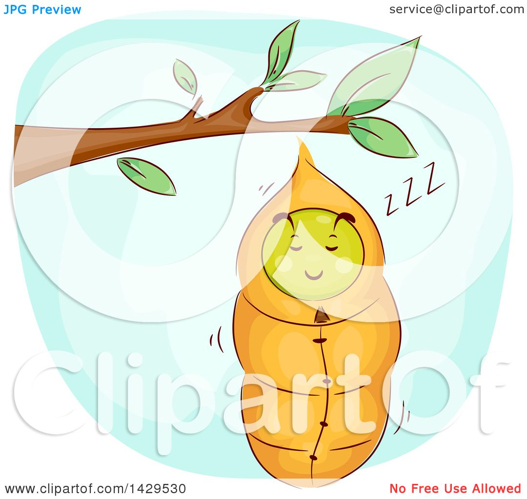Clipart Of A Sleeping Caterpillar Snuggled In A Cocoon Royalty