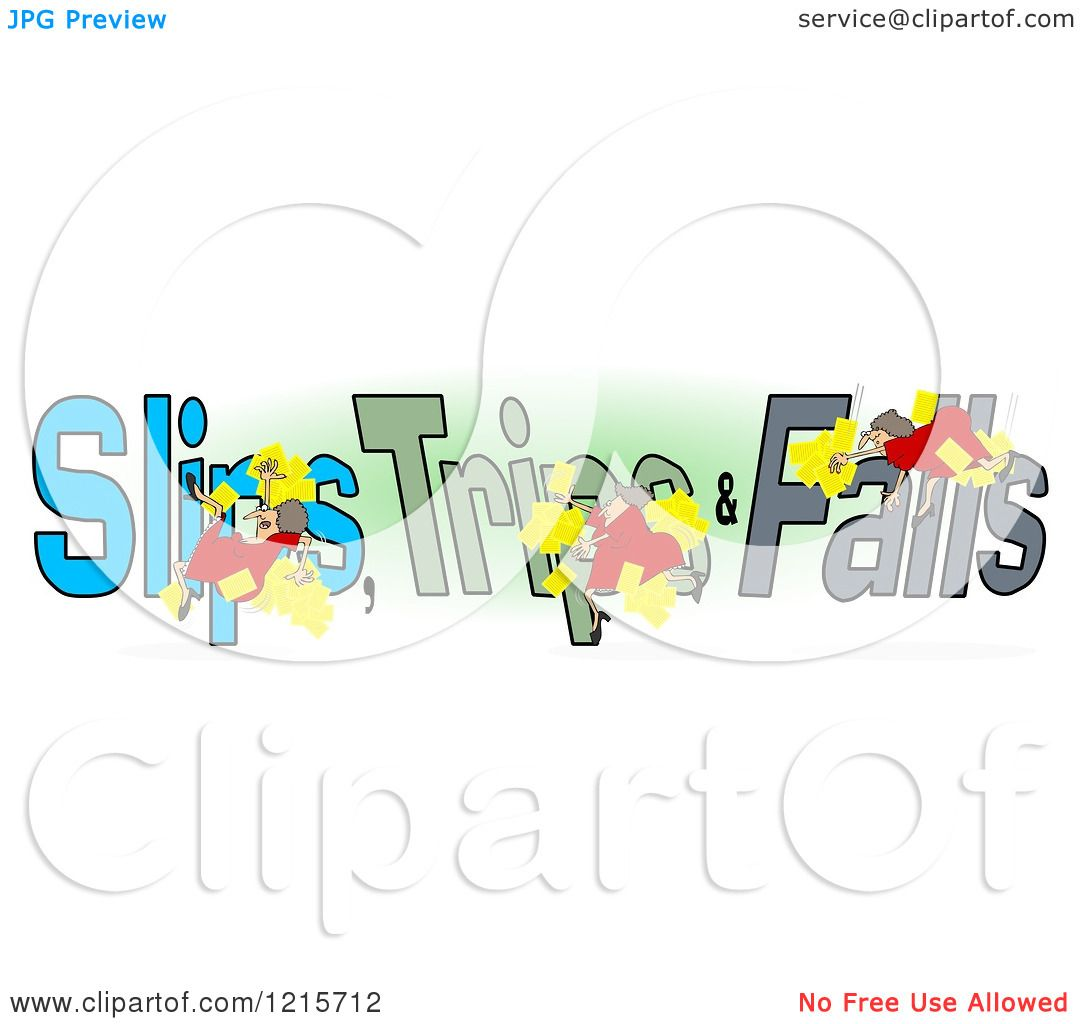 Clipart of a Slipping Tripping and Falling Woman over Slips Trips ...