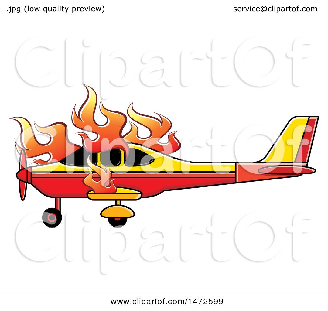 Clipart of a Small Airplane on Fire - Royalty Free Vector ...