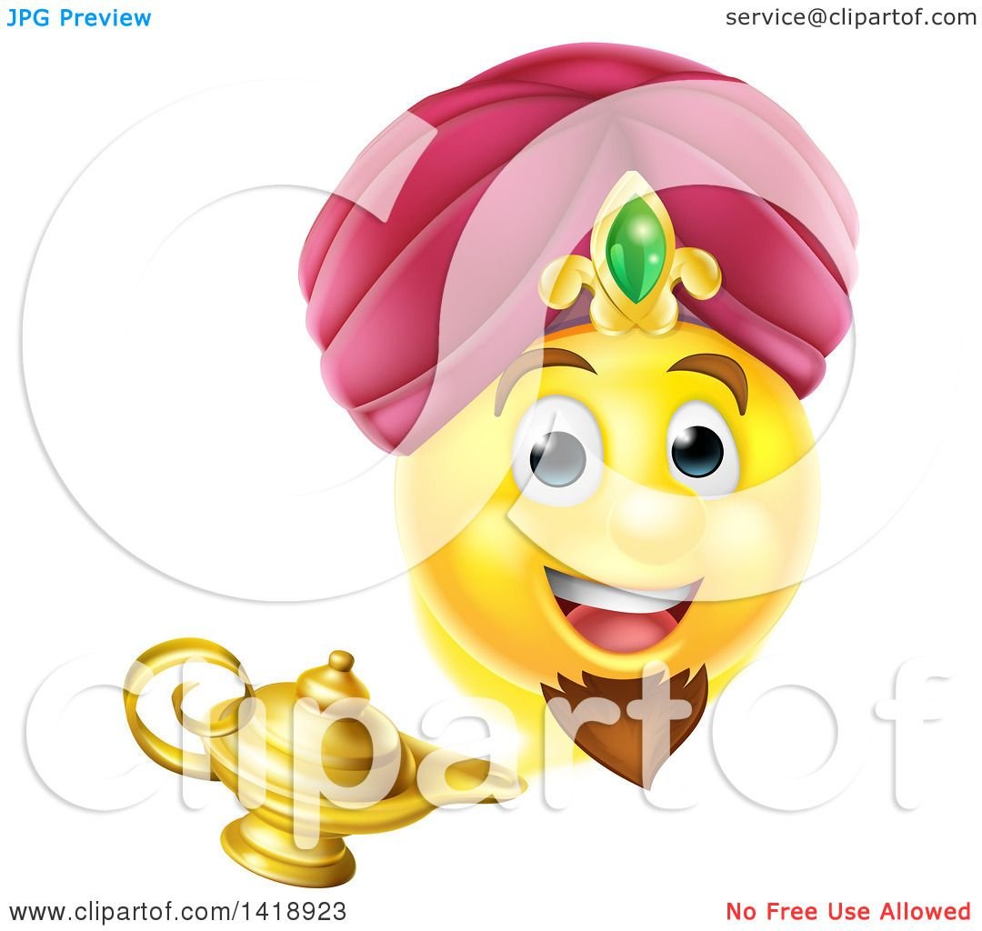 Clipart of a Smiley Emoji Emoticon Genie Emerging from a Lamp ...