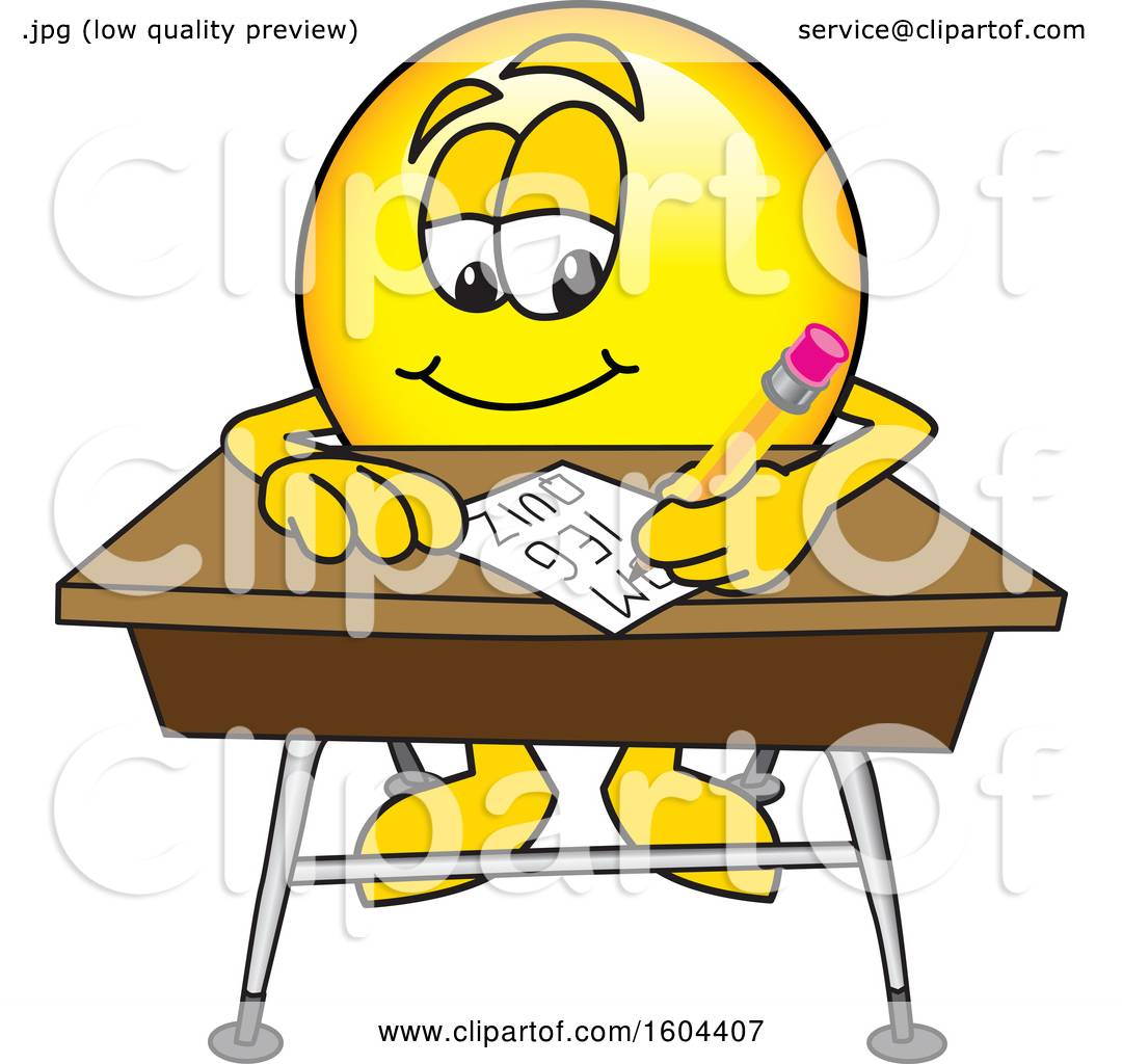 Superb Clipart Of A Smiley Emoji School Mascot Character Writing At Download Free Architecture Designs Scobabritishbridgeorg