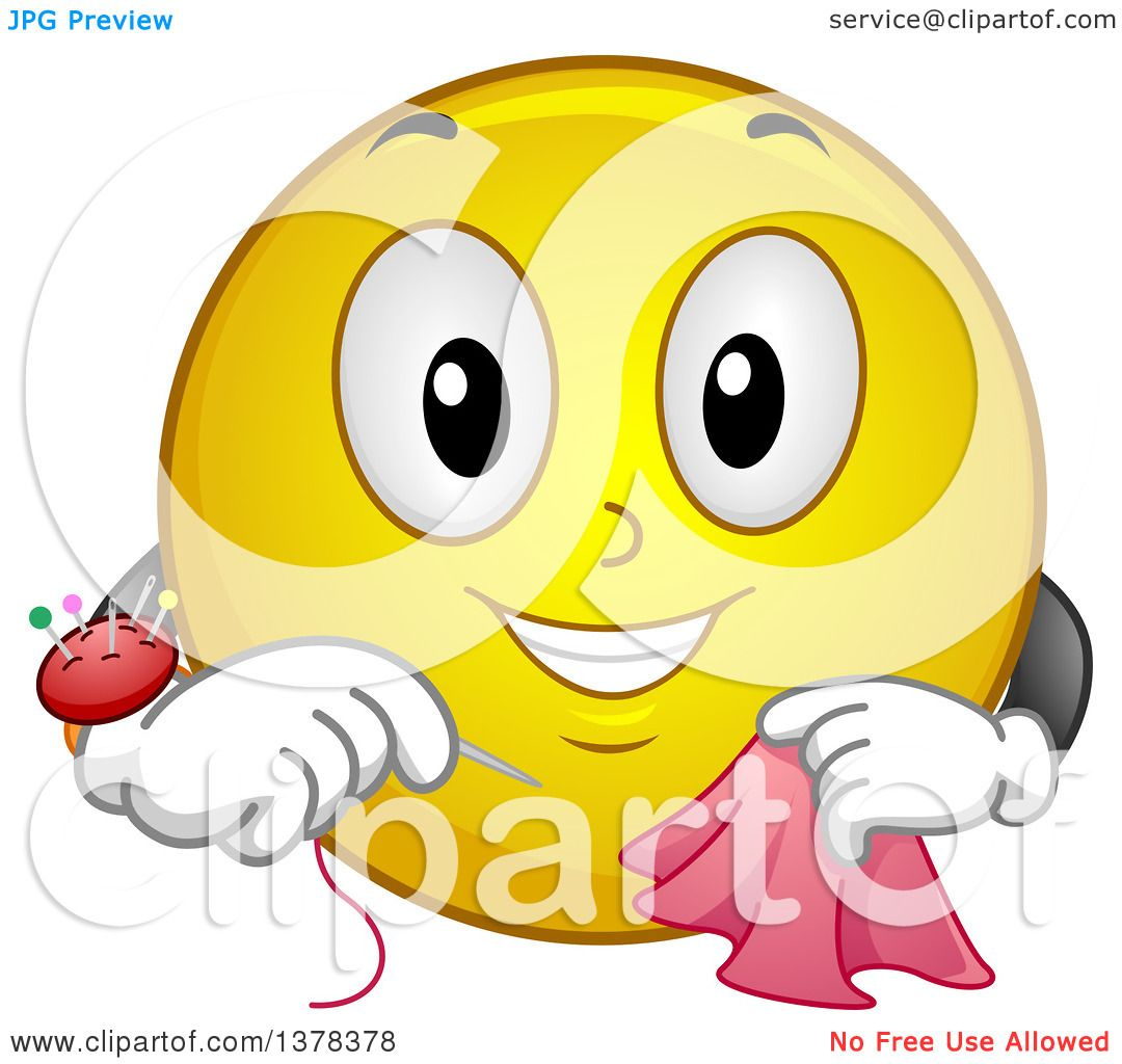 Clipart Of A Smiley Emoji Sewing A Scarf Royalty Free