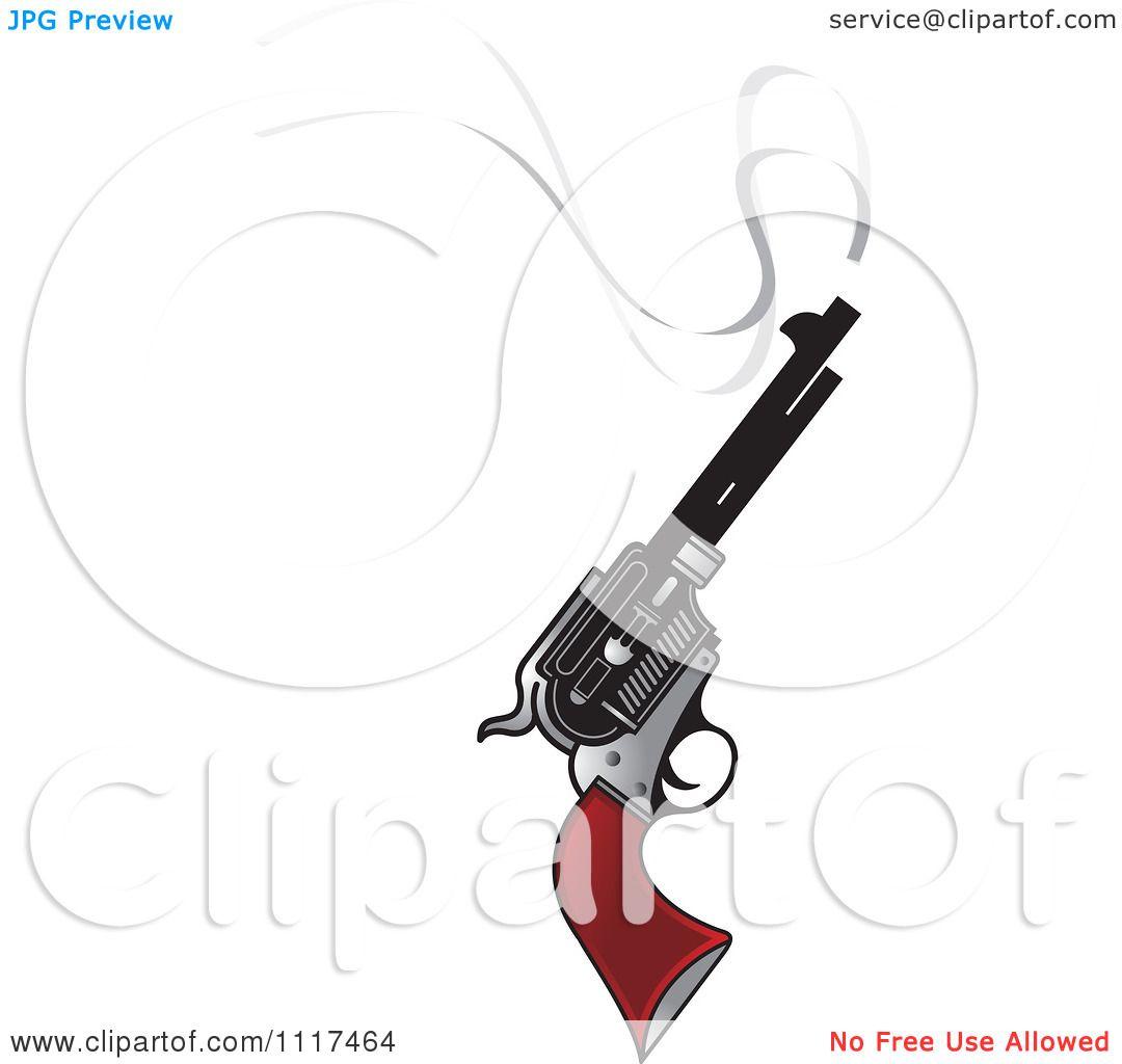 Clipart Of A Smoking Pistol Firearm Gun - Royalty Free ...