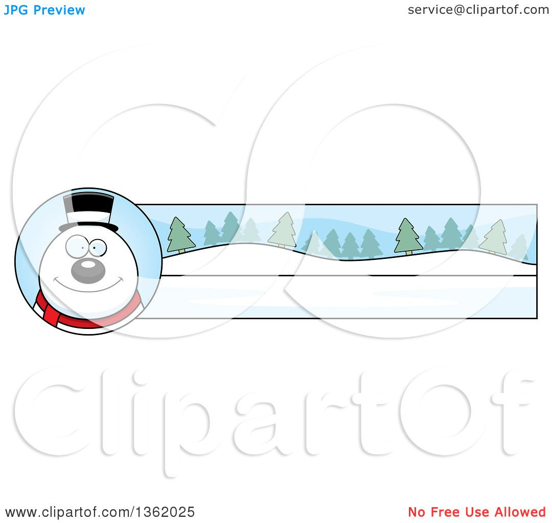 Clipart of a Snowman and Winter Landscape Christmas Banner ...