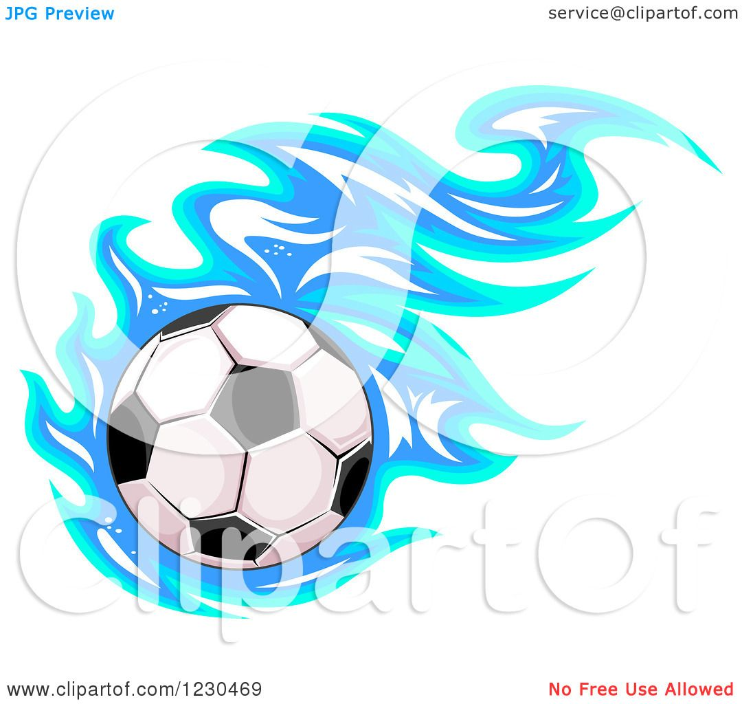 Clipart Soccer Ball Blue Flames