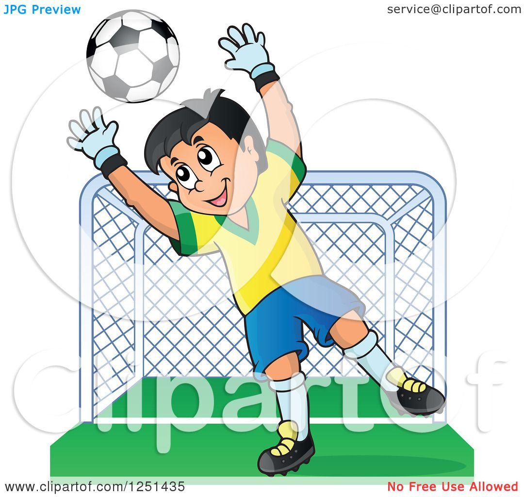 Clipart of a Soccer Goalie Boy Blocking a Ball in Front of a Goal - Royalty Free ...