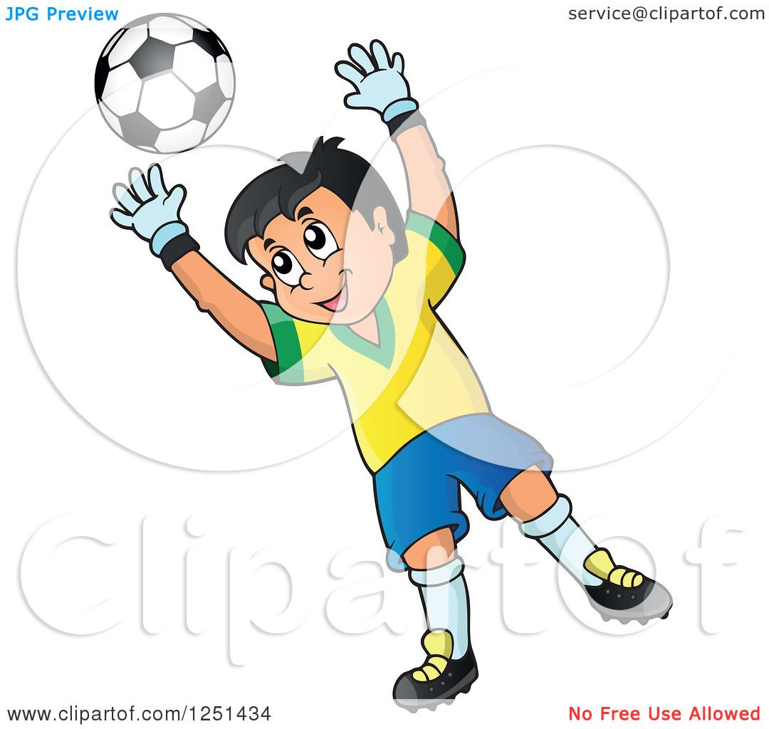 Clipart of a Soccer Goalie Boy Blocking a Ball - Royalty Free Vector Illustration by ...