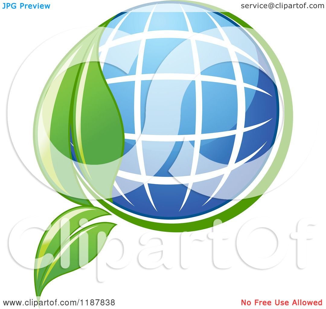 Clipart Of A Solar Panel Globe And Green Leaf Royalty