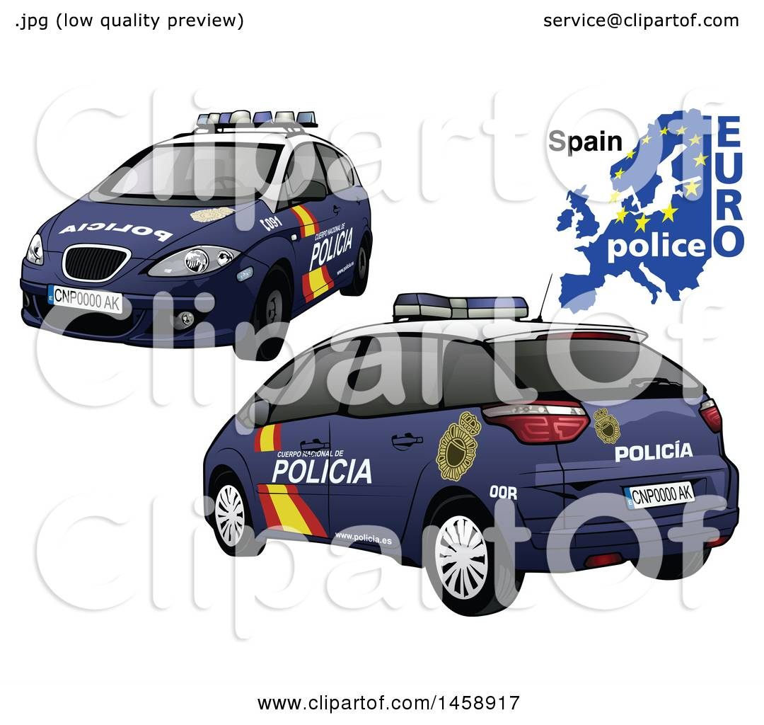 Clipart of a Spanish Police Car with a Map and Euro Police