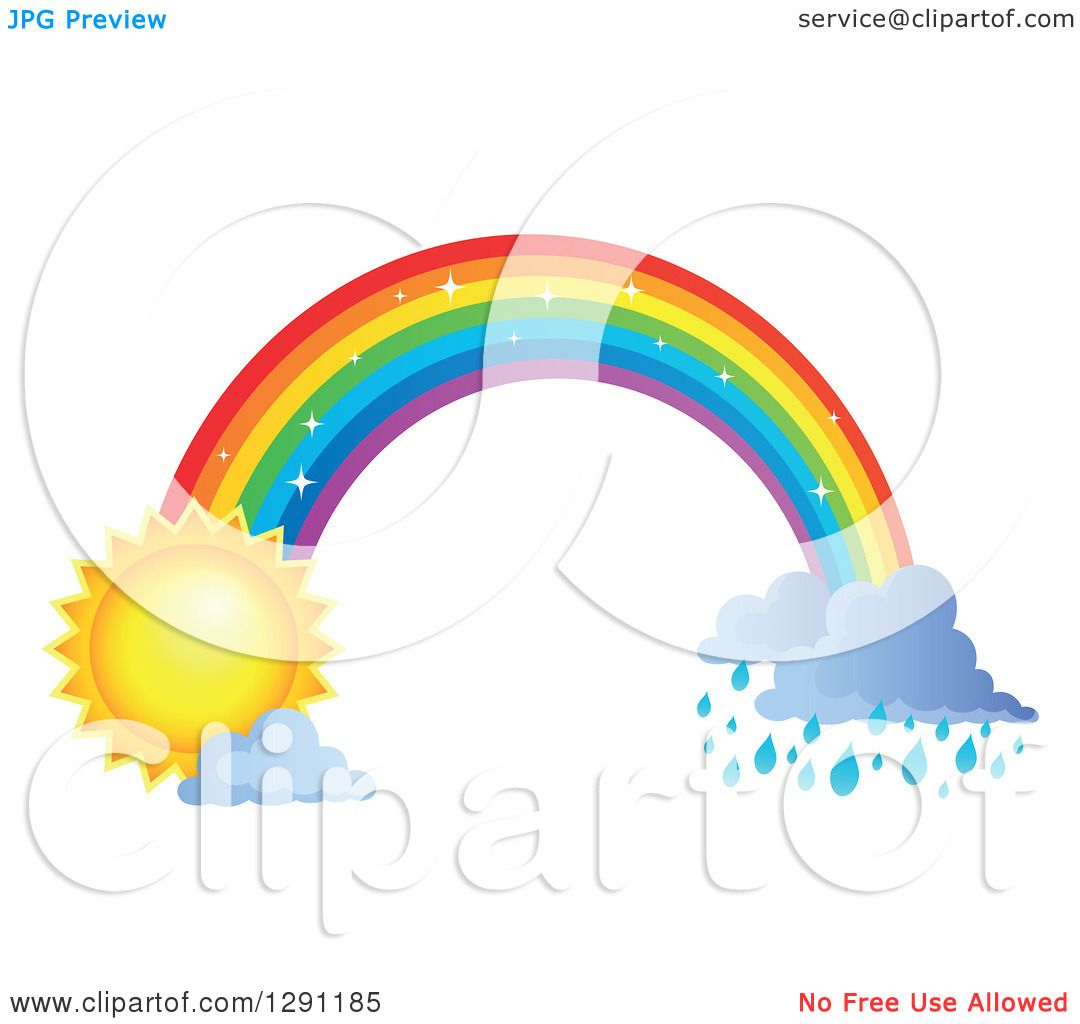 Clipart of a Sparkly Magic Rainbow Arch with Rain Clouds at One ...
