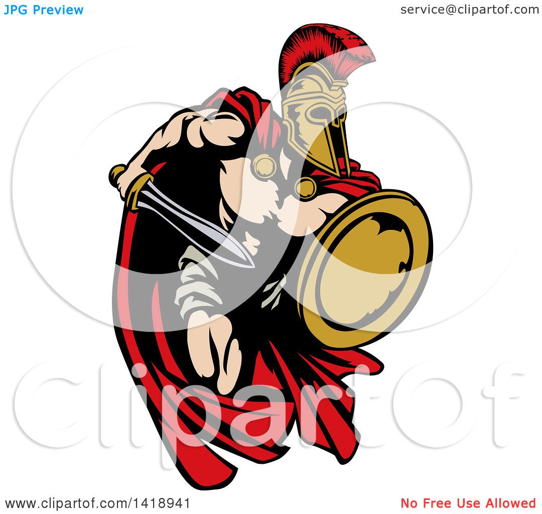Clipart of a Spartan Trojan Warrior Mascot Sprinting with ...