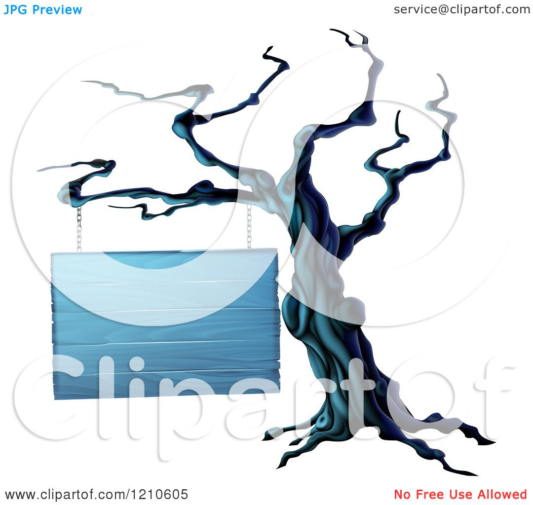 Clipart of a Spooky Dead Tree and Blank Wooden Halloween Sign ...