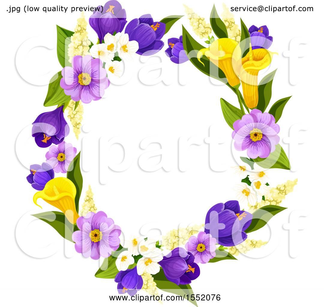 Clipart Of A Spring Flower Frame Design Element