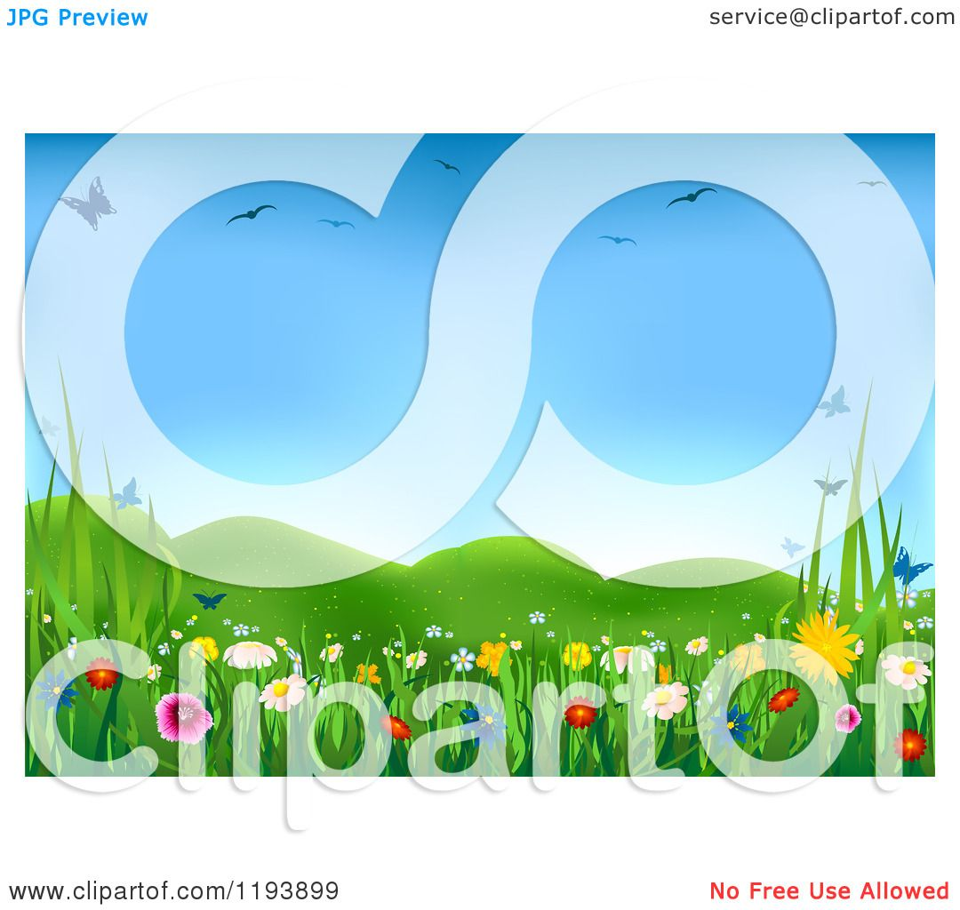 Clipart Of A Spring Meadow With Butterflies Birds And Wild