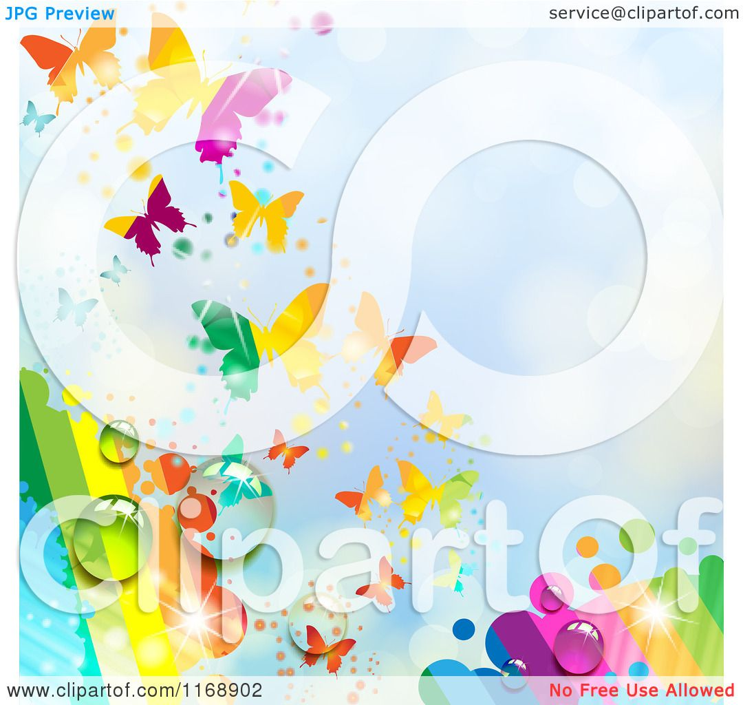 clipart of a spring time rainbow dew butterfly background over