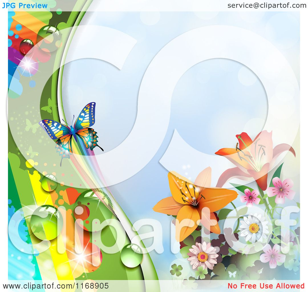 Clipart of a Spring Time Rainbow Dew Flower and Butterfly ...