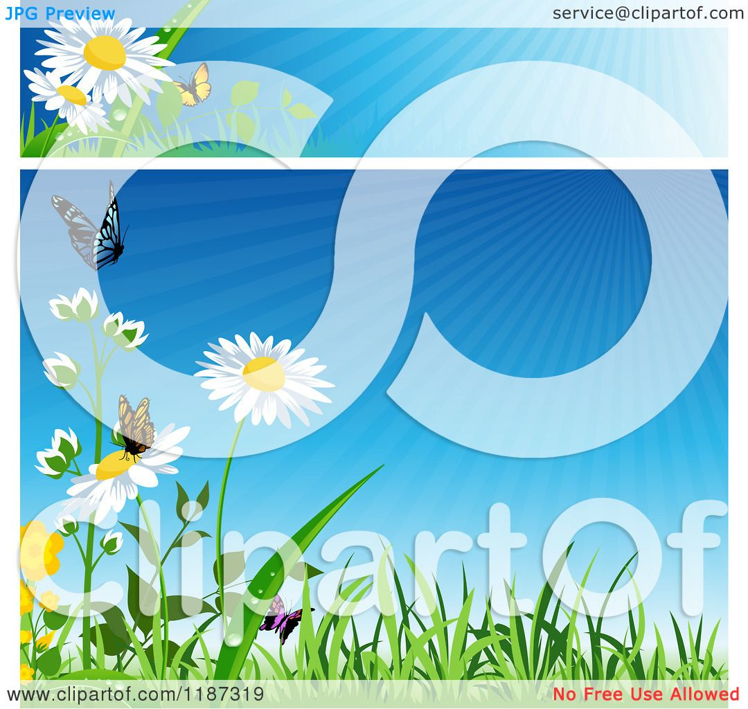 Free banner images for website - Clipart Of A Spring Website Banner And Background With Grass Flowers And Butterflies Royalty Free Vector Illustration By Dero