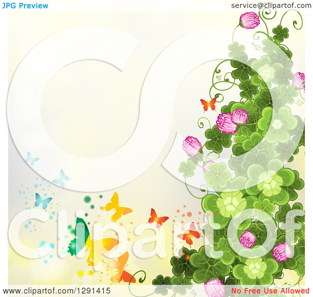 Clipart Of A St Patricks Day Background Shamrock Clovers And Flowers With Rainbow Butterflies On Yellow