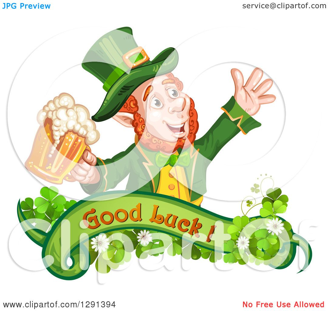 clipart of a st patricks day leprechaun cheering with beer over a