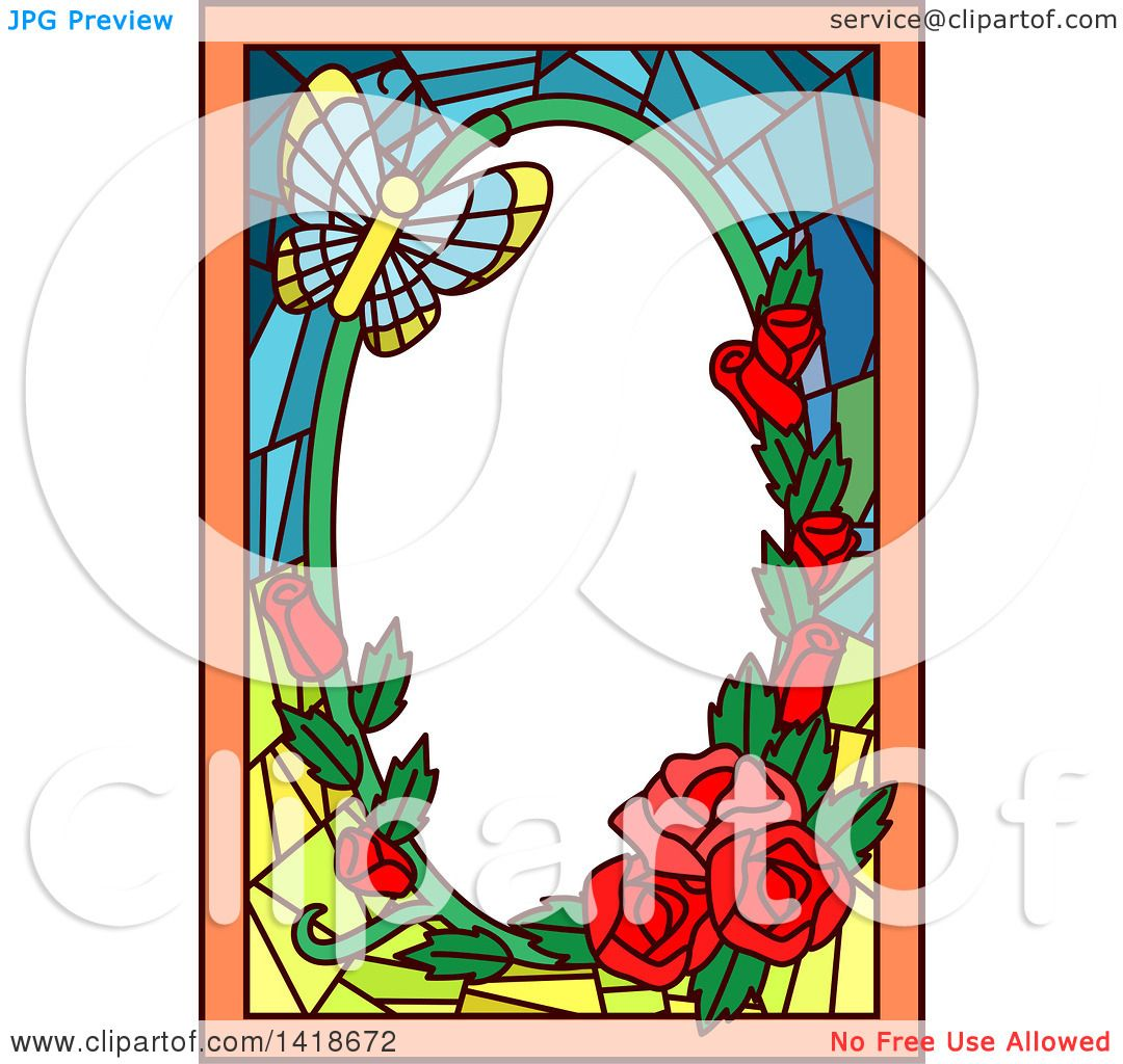 Clipart Of A Stained Glass Butterfly And Rose Frame Design Royalty