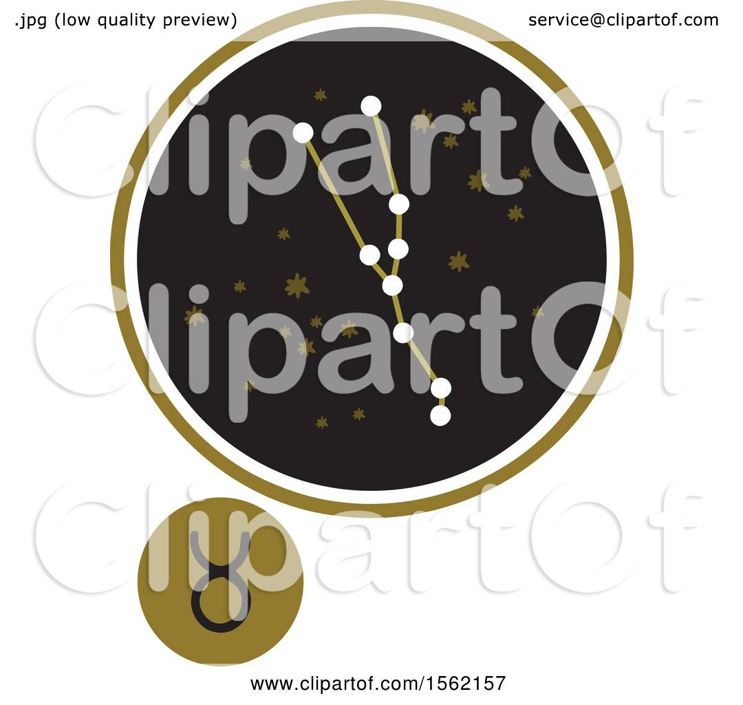 Clipart Of A Star Constellation And Taurus Zodiac Symbol Royalty