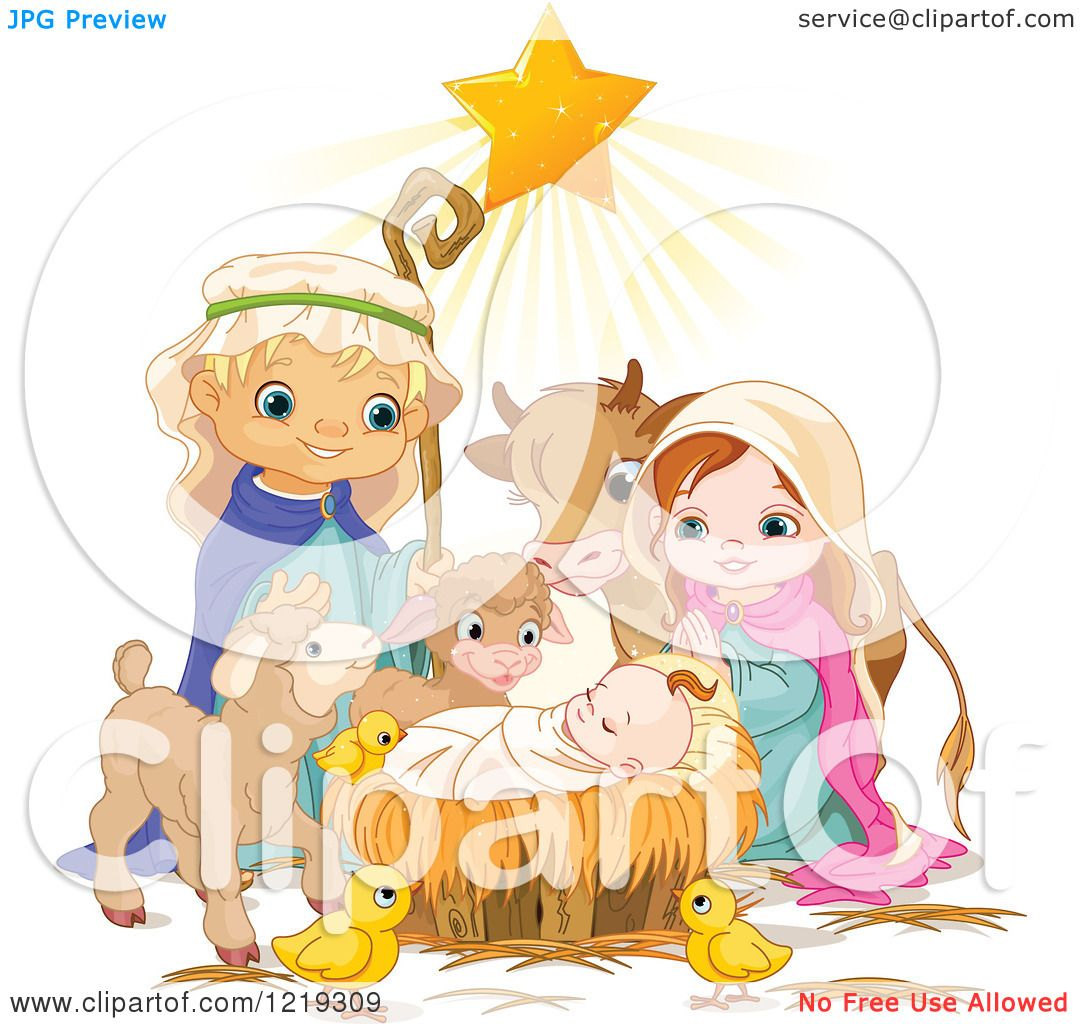 clipart of a star shining on baby jesus surrounded by mary joseph