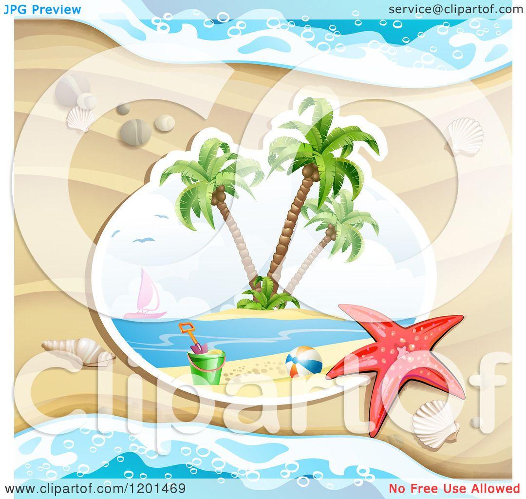 Clipart of a Starfish over a Beach Scene Against Sand ...