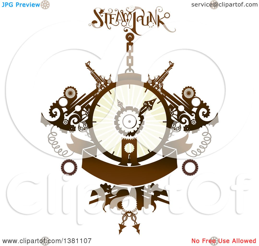 Clipart of a Steampunk Clock with Gears, Text and a Banner ...