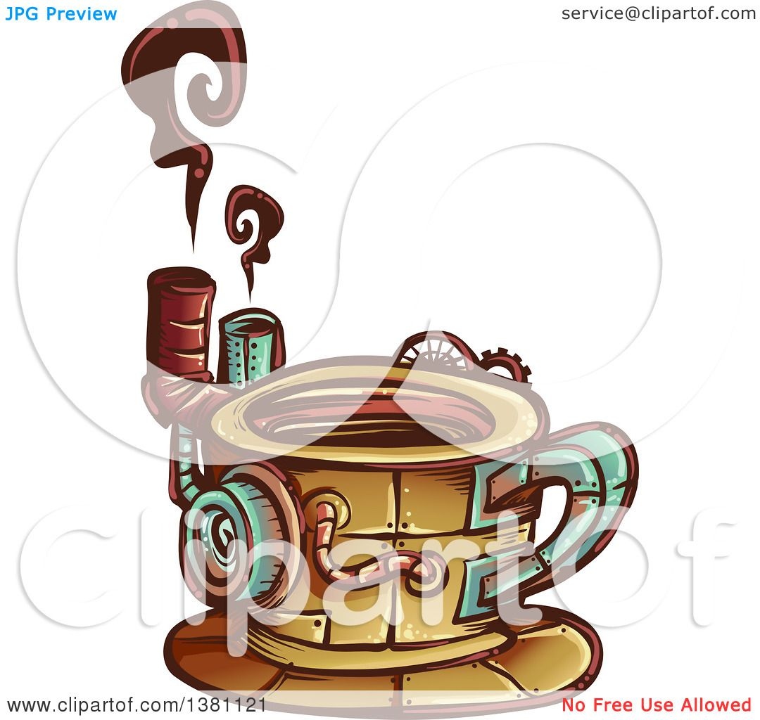 Clipart Of A Steampunk Coffee Cup With Steam Royalty