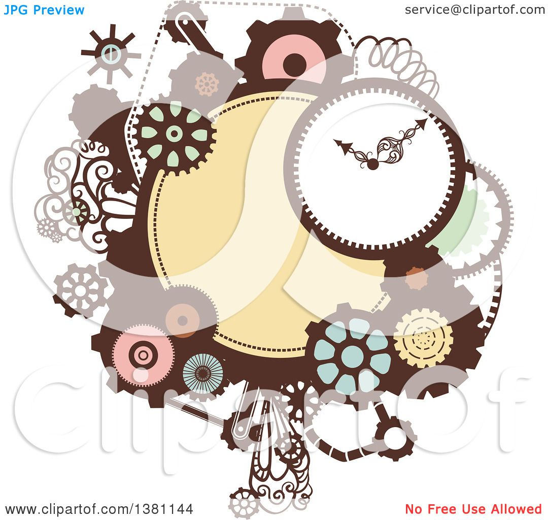 Clipart of a Steampunk Frame with a Clock and Gears ...